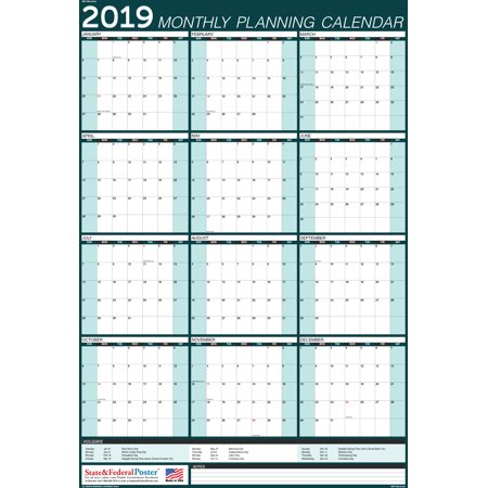 2019 Wall Calendar (Teal), Yearly Planner, Laminated & Erasable. Vertical (MPC) TEAL-27x40