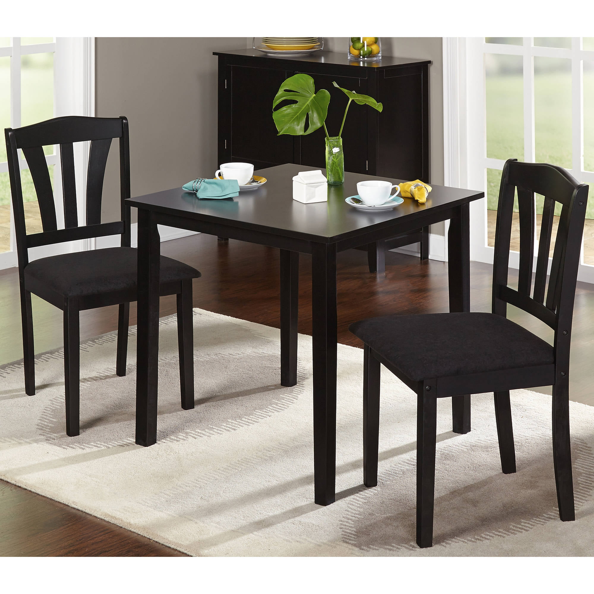 Costway 5 Pcs Pine Wood Dining Table Set 4 Upholstered Chair Breakfast Kitchen Furniture