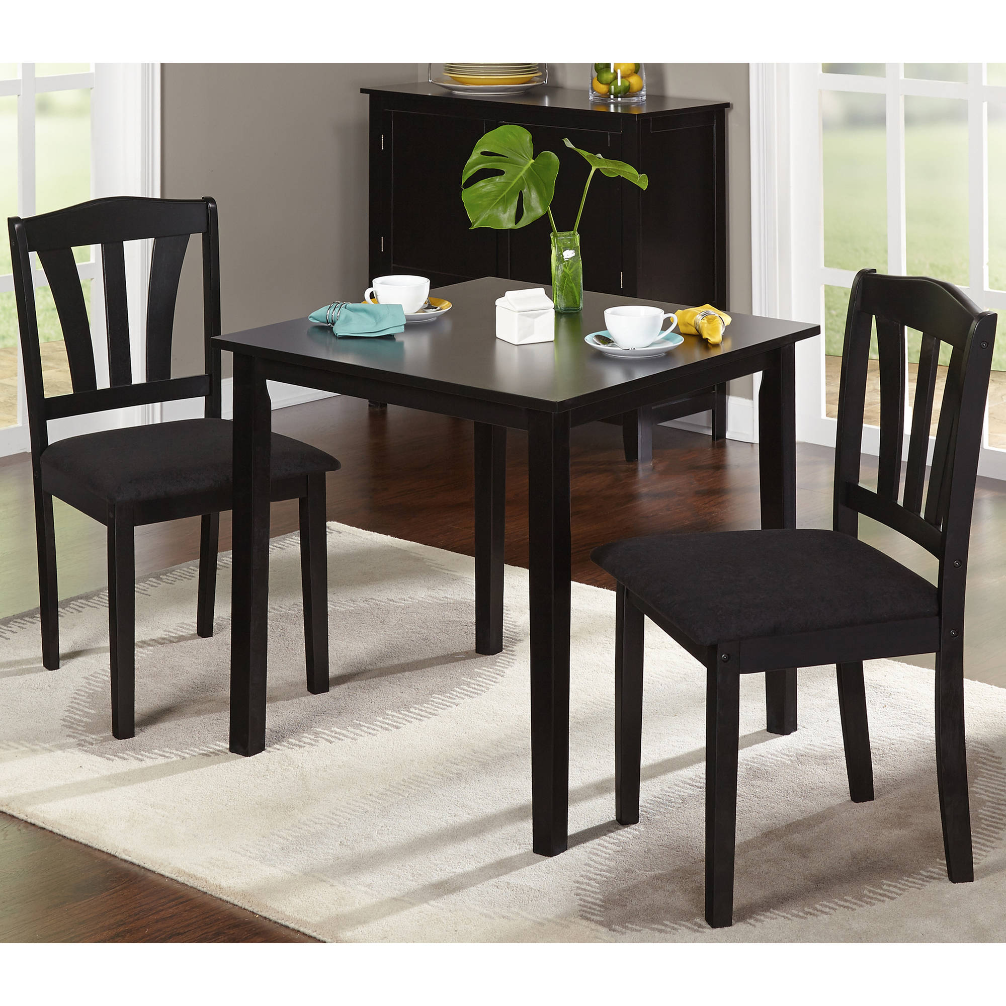 Mainstays Dining Table Rich Espresso Finish Seats 6 fortably