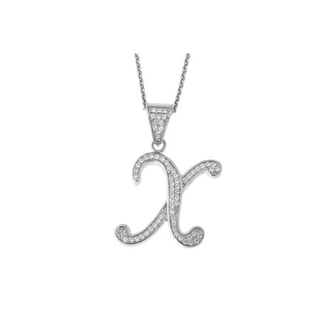 Solid Sterling Silver Rhodium Plated Cubic Zirconia Cursive Initial Pendant Necklace