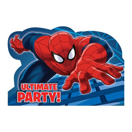 Spiderman Postcard Invitation (8 Pack) - Party Supplies