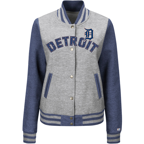 Detroit Tigers Majestic Women's Stolen Bases Full Button Jacket Gray by MAJESTIC LSG