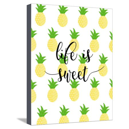 4b085e3fb59d Life is Sweet - Pineapple Stretched Canvas Print Wall Art By Anna Quach -  Walmart.com