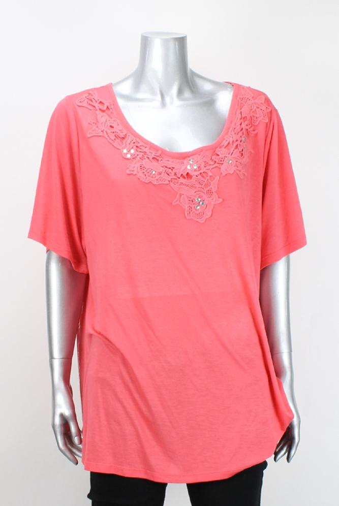 Inc International Concepts Grapefruit Rhinestone Top 1X by