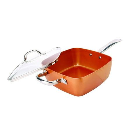 Copper Casserole Ceramic coating Deep Square Pan saute saute broil, fry braise steam bake