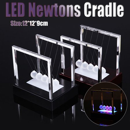 Newtons Cradle LED Light Up Kinetic Energy Home Office Science Toys - Black Light Toys
