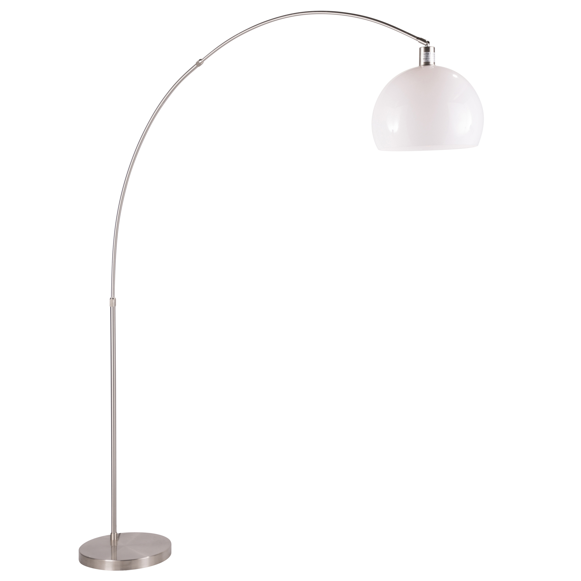Decco Modern Arched Floor Lamp In Satin Nickel With White Shade By Lumisource