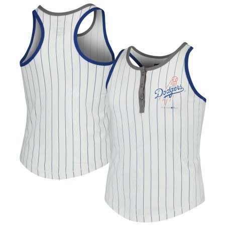 - Los Angeles Dodgers New Era Girls Youth Pinstripe Jersey Racerback Tank Top - White/Royal