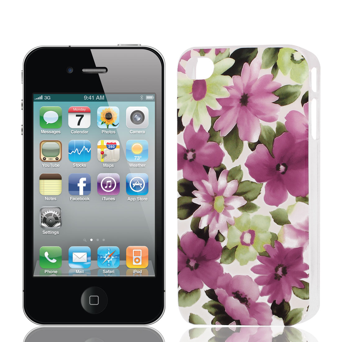 Red Pink Flower Print Hard Plastic Back Case Cover for Apple iPhone 4 4G 4S