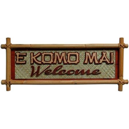 Hawaiian Small Bamboo Sign E Komo Mai Welcome
