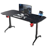 Walnew 63 Inches Y-Shaped Legs Adjustable Height Computer Gaming Desk Carbon Fiber Surface Gaming Desk With Cup Holder & Headphone Hook(Black)