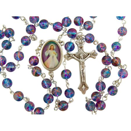 Handcrafted Beaded Jewelry (Blue and Purple Multi Color Glass Prayer Bead Rosary with Divine Mercy Centerpiece, 18)