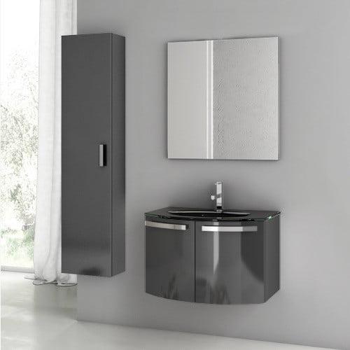 """Image of ACF Bathroom Vanities Crystal Dance 30"""" Single Bathroom Vanity Set with Mirror"""