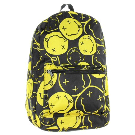 Nirvana Backpack Smiley Face Rock Band Music Logo