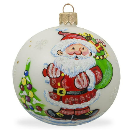 Santa Carrying Gifts to Christmas Tree Glass Ball Ornament 3.25 Inches