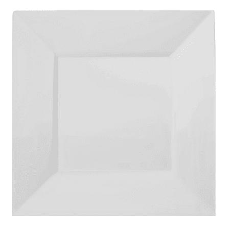Exquisite 60 Piece Square Plastic Dinnerware Set - 30 Dinner Plates & 30 Dessert Plates - White