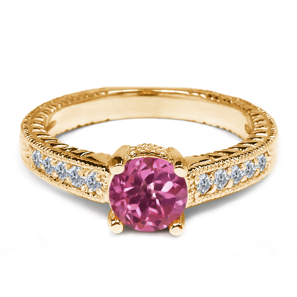 0.31 Ct Round Pink Tourmaline White Diamond 925 Yellow Gold Plated Silver Ring