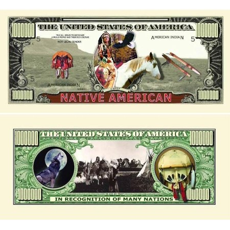 "Five Dollar Gift Card - 5 Native American Million Dollar Bills with Bonus ""Thanks a Million"" Gift Card Set"