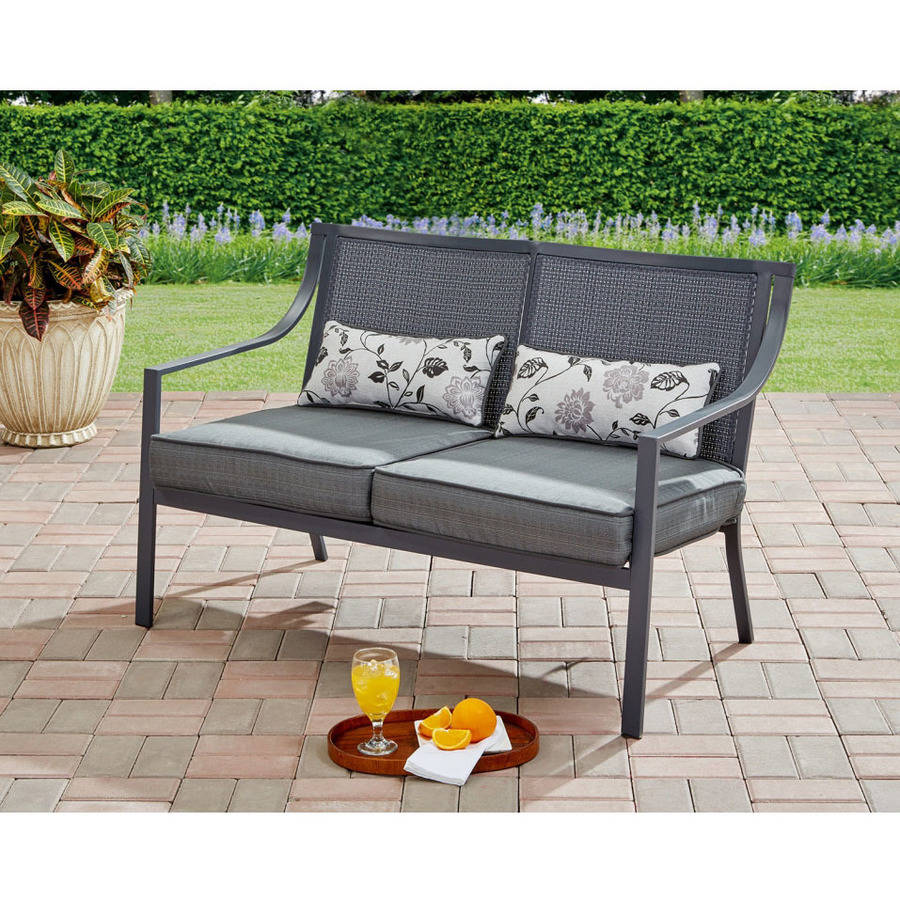 Mainstays Alexandra Square Loveseat Bench, Gray