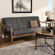 Baxton Studio Larsen Mid-Century Modern Gray Fabric Upholstered Walnut Wood Sofa