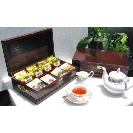 Mahogany Wood Finish Cabinet - SMALL Tea Bag Chest Storage Cabinet Wood Box, Solid Wood, 8 slots (Mahogany Finish)