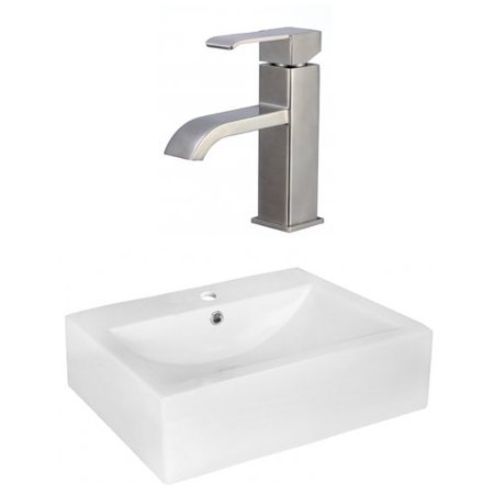 Jade Bath Above Counter Ceramic Rectangular Vessel Bathroom Sink with Faucet and Overflow