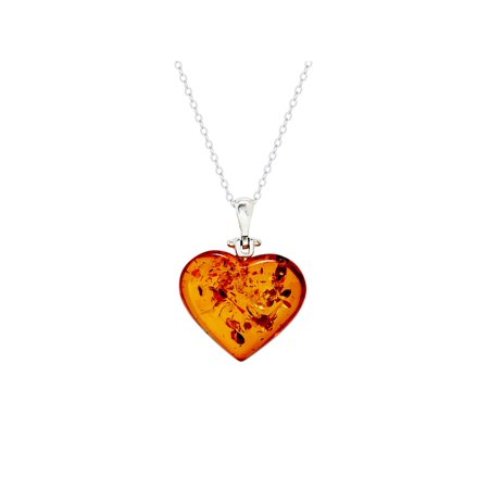 Baltic Amber Pendant (Sterling Silver Baltic Amber Heart Pendant )