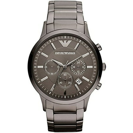 Emporio Armani Men's Classic Chronograph Stainless Steel Gunmetal Watch - Chronograph Steel Watch