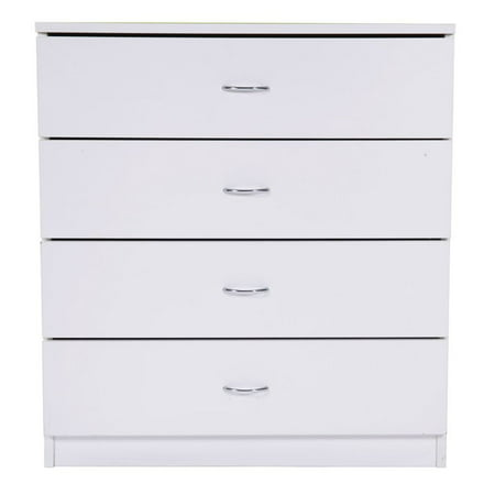 MDF Wood White Simple 4-Drawer Dresser Bedside Table Bedroom Storage Cabinet Wooden Nightstand ()