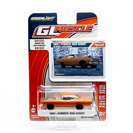 1969½ PLYMOUTH ROAD RUNNER (Go Mango) * GL Muscle Series 15 * Greenlight Collectibles 2016 Limited Edition 1:64 Scale Die-Cast Vehicle & Collector Trading Card - image 1 of 2