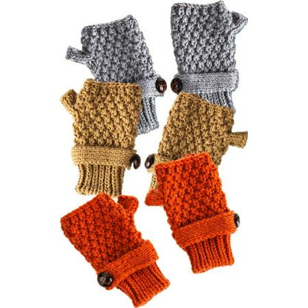 Button Fingerless Gloves - Camel Orange And Light Grey Button Fingerless Knit Gloves Set Of 3
