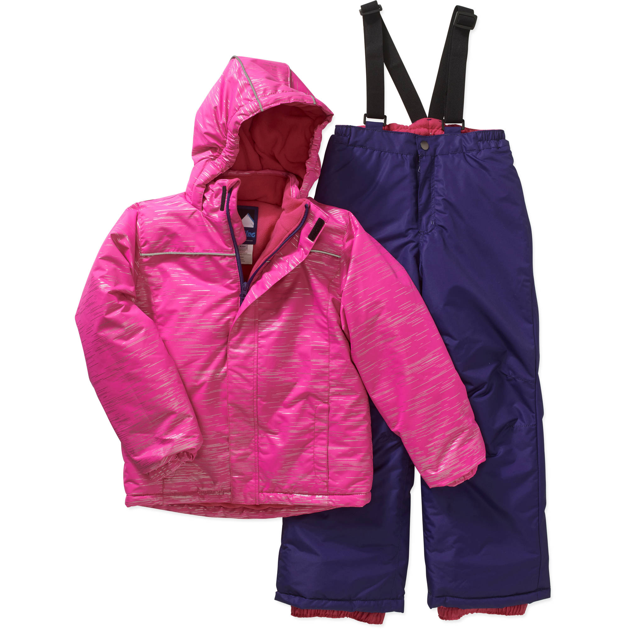 Iceburg Girls' Insulated Glitter Snow Jacket and Bib Suit Set