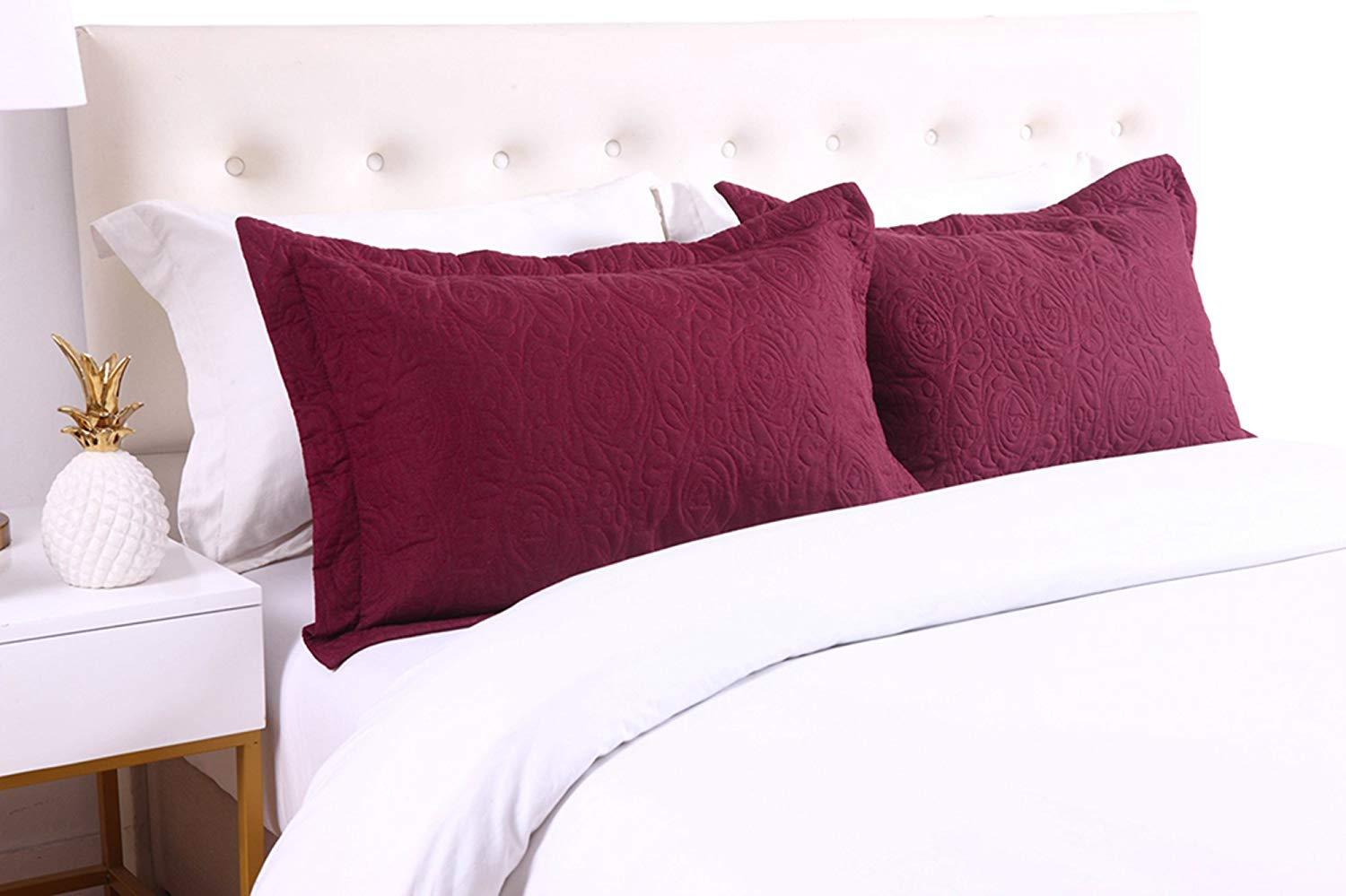 MarCielo 2-Piece Embroidered Pillow Shams, Decorative