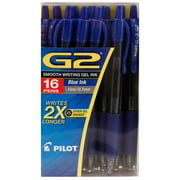 Pilot - G2 Gel Roller Ball Pens, Retractable, Blue Ink, Fine - 16 Pens