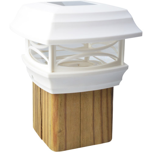 Moonrays 91254 Solar Powered LED Post Cap Light, 4-Inch by 4-Inch Post, White Finish
