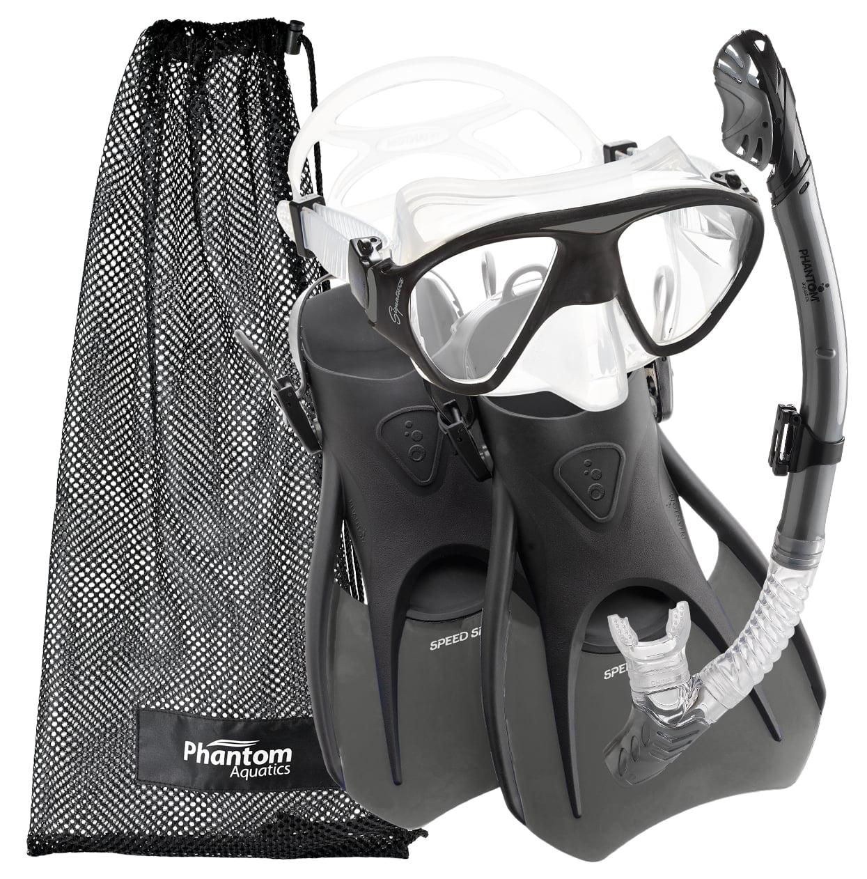 Phantom Aquatics Adult Signature Mask Fin Snorkel Set with Net Bag by