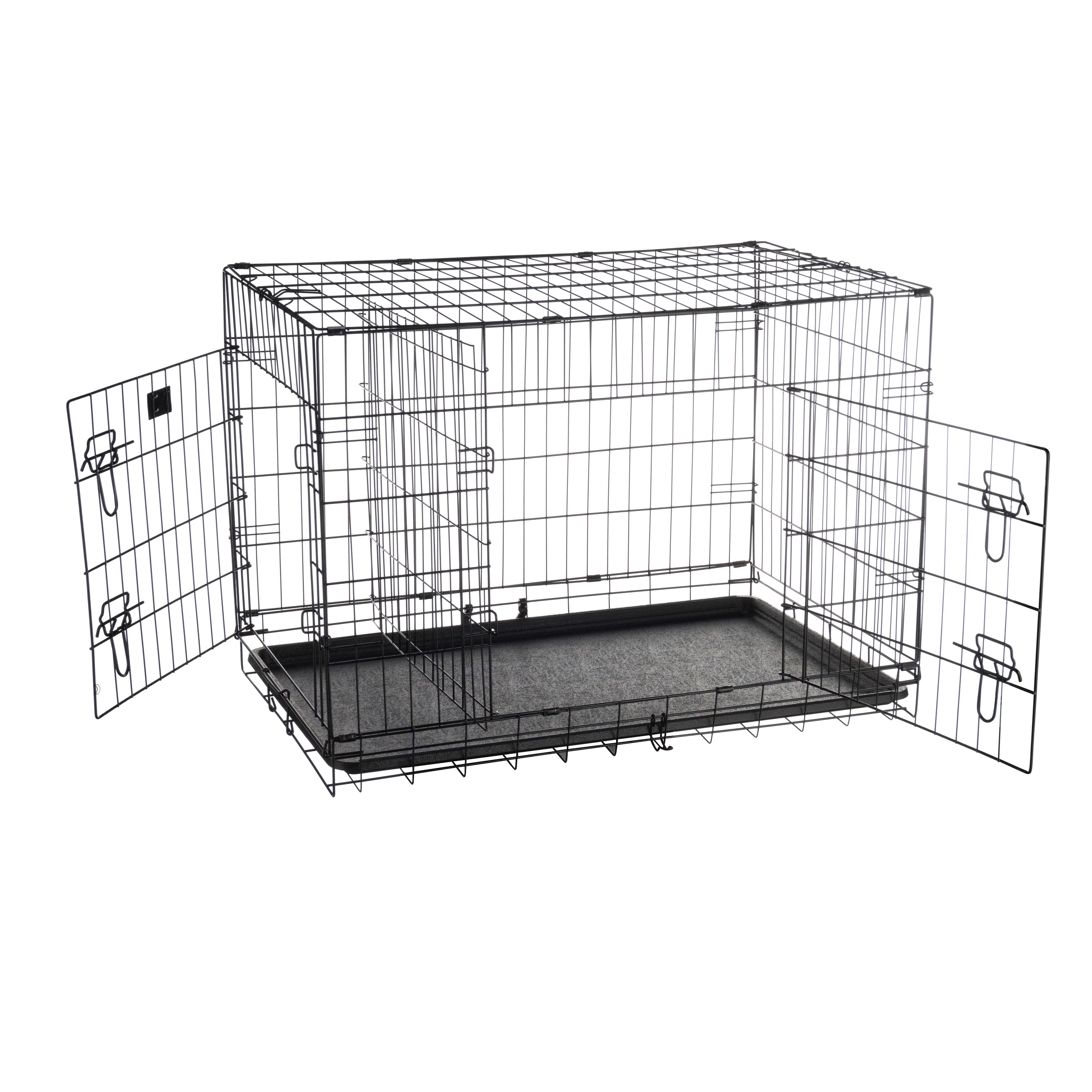 Wire Dog Crate With Divider | Pet Trex 36 Folding Pet Crate Double Door Kennel Wire Cage With