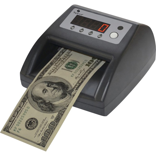 Sparco Counterfeit Bill Detector with UV, MG and IR - Ultraviolet, Magnetic Ink, Infrared - Gray