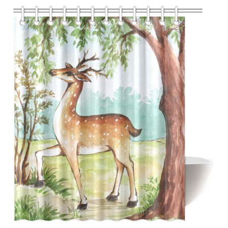 MYPOP Watercolor Painting Decor Shower Curtain, Whitetail Antlers in Tropical Trees Forest Fabric Bathroom Shower Curtain Set with Hooks, 60 X 72 Inches Whitetail Shower Curtain Hooks