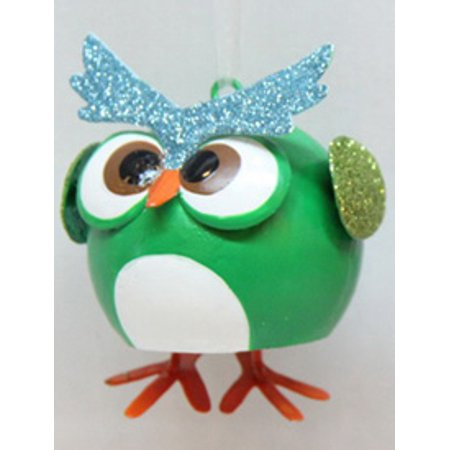 """Sterling 3"""" Glittered Owl with Dangle Feet Christmas Ornament - Green"""