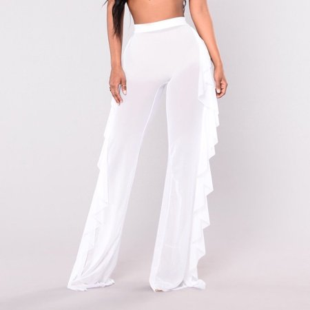 276ee39bcea Sexy Womens See Through Sheer Mesh Ruffle Trousers Swimsuit Beach Cover up  Long Pants Bell Bottoms White L