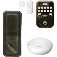 Milocks MIEQ-AQSNHB Mieq Smart Hub, Dead Bolt Lock And Door Sensor Combo Kit (Antique Brass Finish)