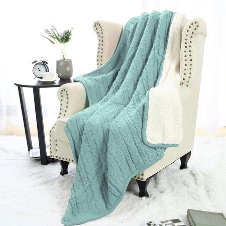 Fantastic Soft Warm Sofa Couch Bed Cable Knit Reversible Throw Blanket Light Blue Inzonedesignstudio Interior Chair Design Inzonedesignstudiocom