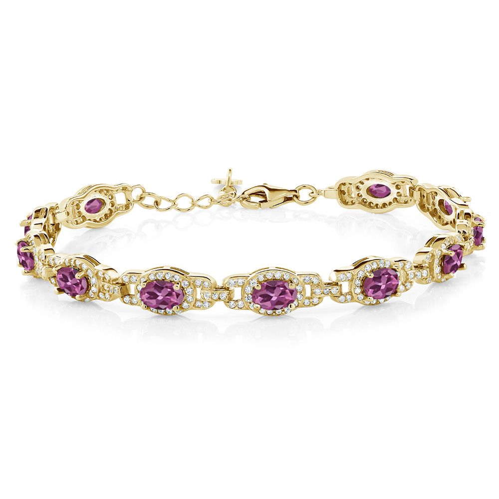 7.78 Ct Oval Pink Tourmaline AAA 18K Yellow Gold Plated Silver Bracelet by