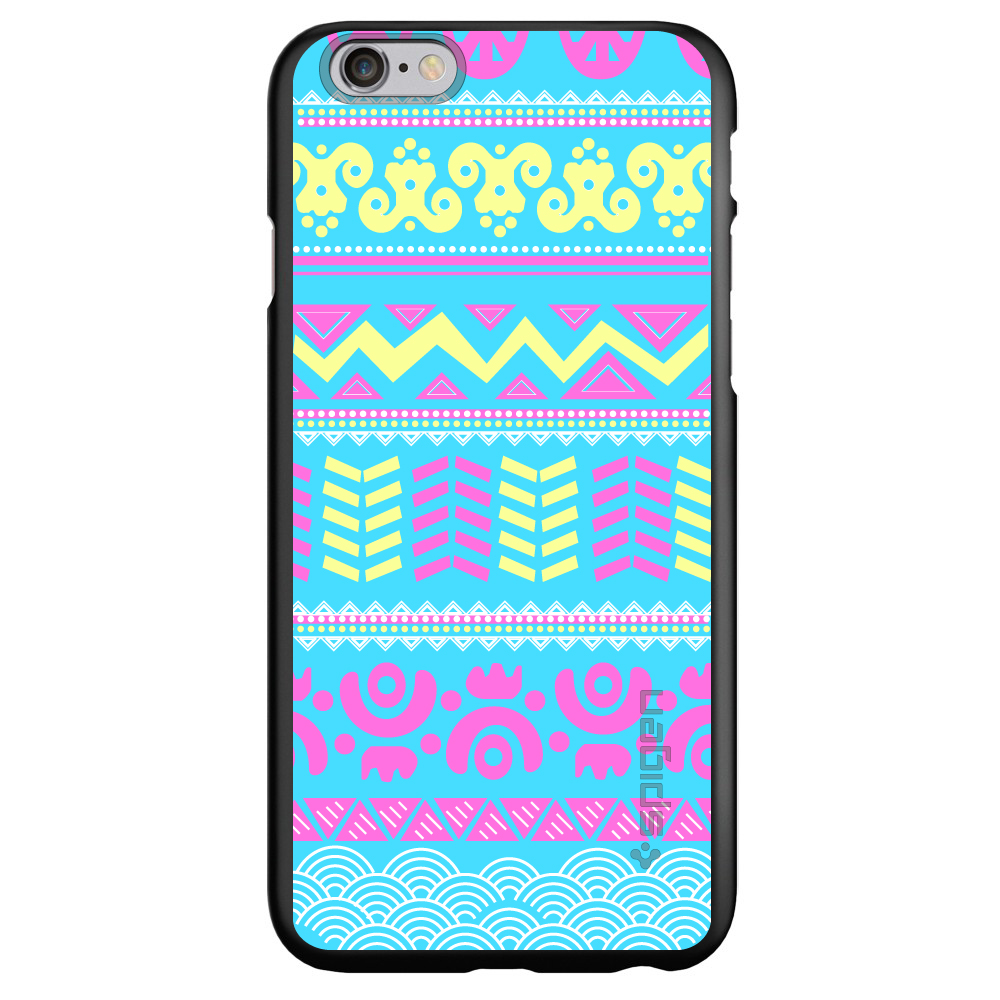 "CUSTOM Black Spigen Thin Fit Case for Apple iPhone 6 PLUS / 6S PLUS (5.5"" Screen) - Yellow Pink Blue Aztec Tribal"