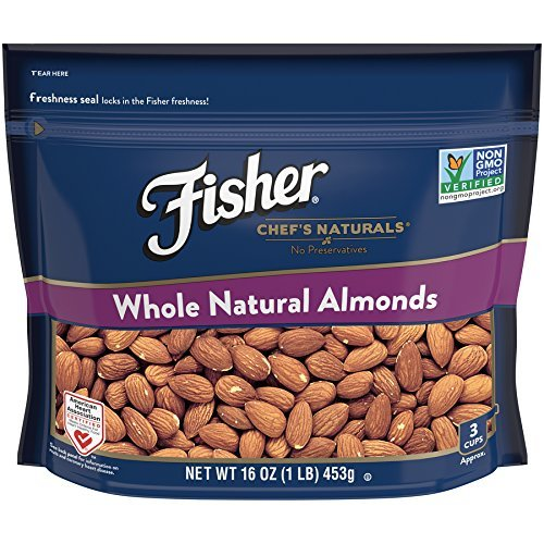Fisher Chef's Naturals Whole Natural Almonds, Non Preservatives, Heart Healthy, Non-GMO, 16 oz