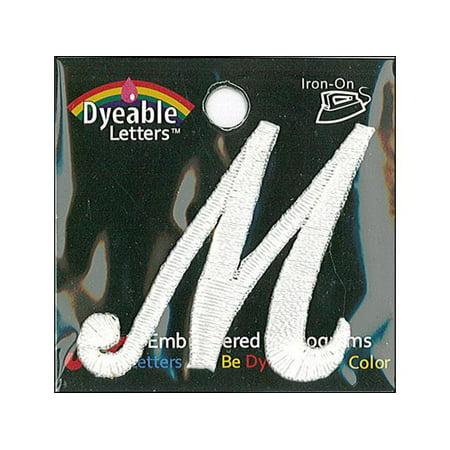 Joy Applique Letter Iron On Script Dye 1 5   Wht M