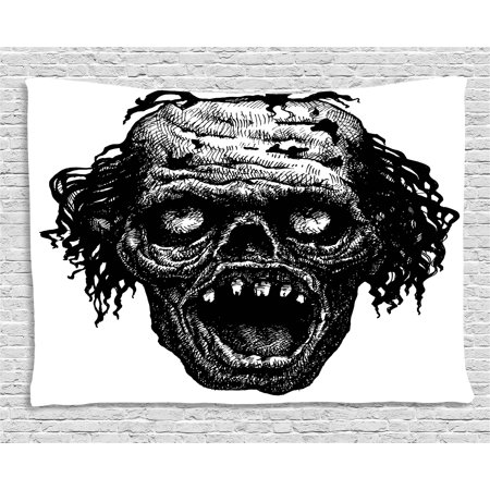 Halloween Tapestry, Zombie Head Evil Dead Man Portrait Fiction Creature Scary Monster Graphic, Wall Hanging for Bedroom Living Room Dorm Decor, 80W X 60L Inches, Black Dark Grey, by Ambesonne - Halloween Scary Monsters