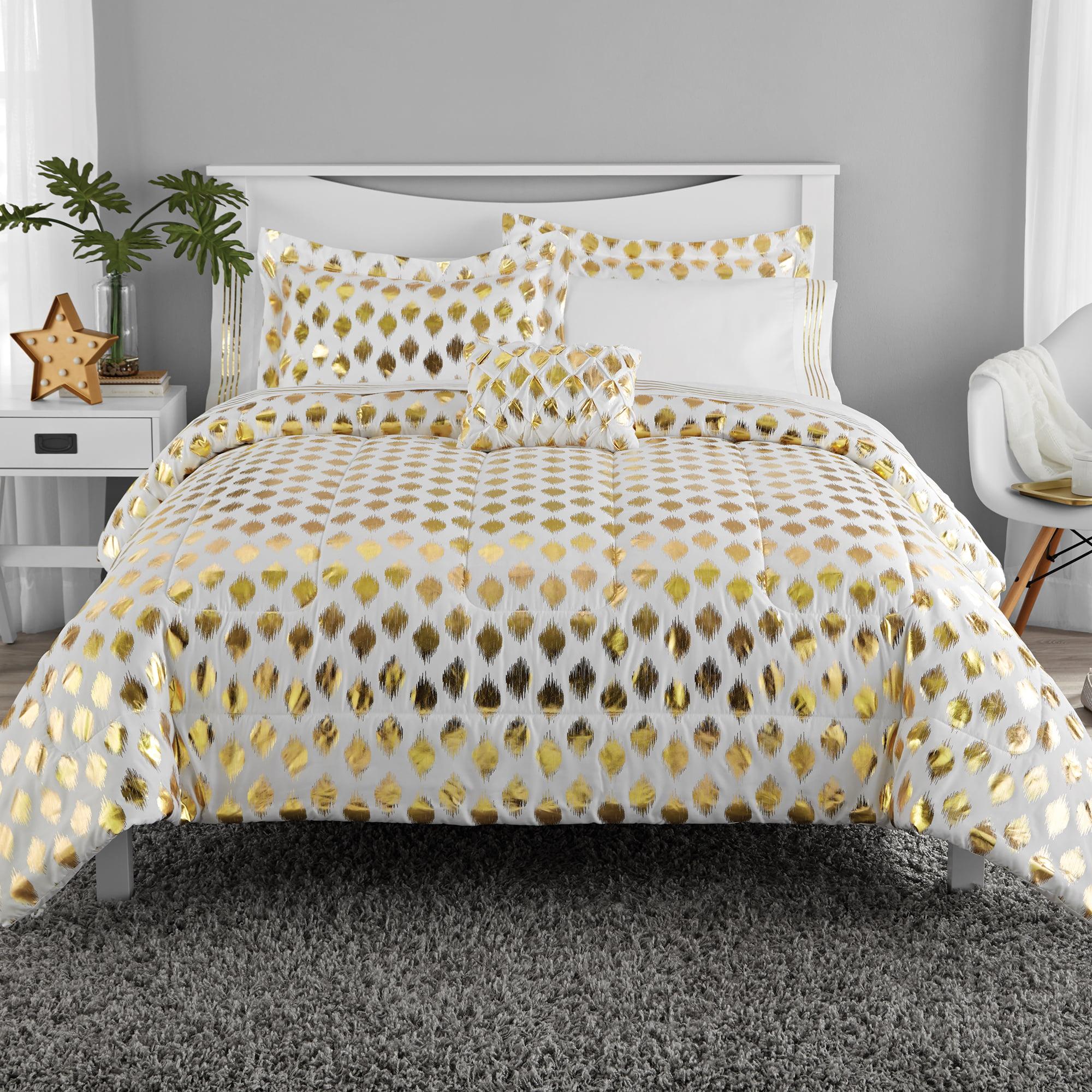 Mainstays Gold Dot Bed In A Bag Bedding Full Walmart Com