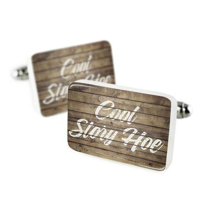 Cufflinks Painted Wood Cool Story Hoe Porcelain Ceramic NEONBLOND (Wood Cufflinks)